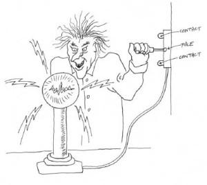 Figure 2-29. Ce savant fou s'apprête à alimenter en électricité son expérience, grâce à un interrupteur à couteau SPDT installé sur le mur de son laboratoire.