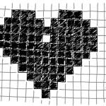 Figure 8-5. Le motif de coeur pixellisé sur une feuille de papier quadrillé