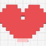 Figure 8-6. Ajout de cubes pour former le coeur pixellisé